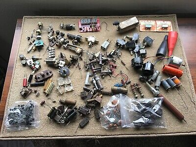 Mixed Lot Of Vintage Nos And Used Electronic Parts, Caps, Switches, & Others