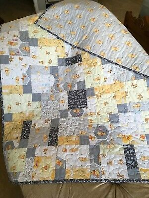 Handmade Winnie The Pooh Baby Quilt - Reversible Patchwork Baby Quilt
