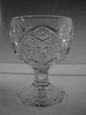 American Brilliant Cut Glass Unusual Footed Punch Cup