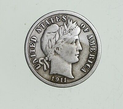 Higher Grade - 1911 Barber Liberty US Silver Dime - Great Detail in LIBERTY *479