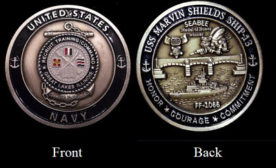 ~ USS Marvin Shields ~ Ship 13 ~ Navy Recruit Training Command Challenge Coin ~