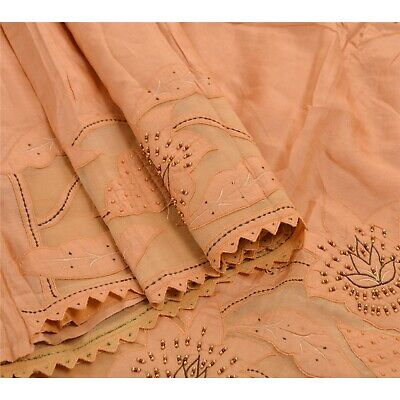 Sanskriti Vintage Indian Saree 100% Pure Silk Hand Beaded Fabric Premium Sari