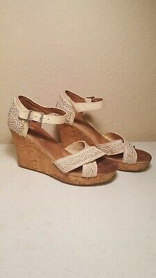 17f273872dd Toms Womens Size 7.5 Textile Cork Wedge Heel Sandals Buckle Ankle Strap