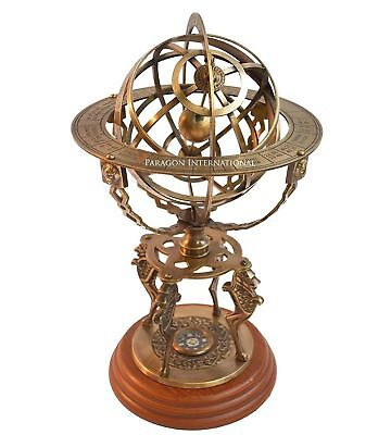"Armillary Dial 18"" Solid Brass Sphere World Globe Desktop Table Lion Armillary"