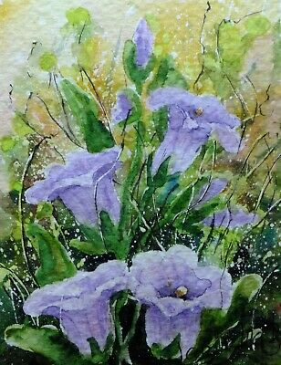 ACEO BELLFLOWERS original watercolor painting miniatur picture by Europe artist