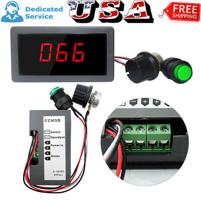 Max 8A DC 6-30V 12V 24V Motor PWM Speed Controller With Digital Display & Switch