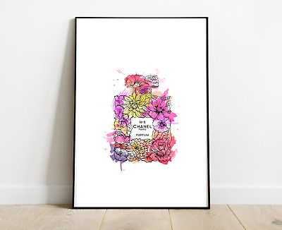 Chanel Print Perfume Bottle Colourful Flowers Prints Flowers Art Dressing Room