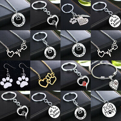 Cute Paw Heart Key Ring Keyring Pet Lover Gift Necklace Pendants Charms Bracelet