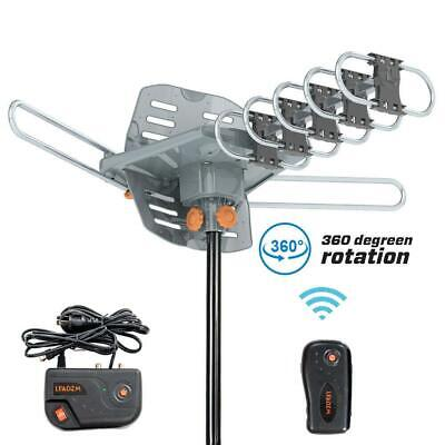 200MILE OUTDOOR TV ANTENNA MOTORIZED AMPLIFIED HDTV HIGH GAIN 36dB UHF VHF 1080P