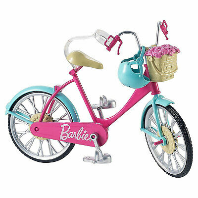 Barbie Bicycle / Bike with basket, flowers and helmet (DVX55) by Mattel