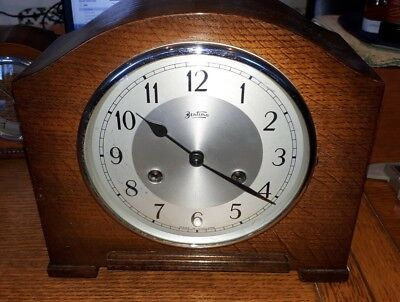 Vintage Bentima 8-Day Striking Mantel Clock with Perivale Movement 1940`s + key