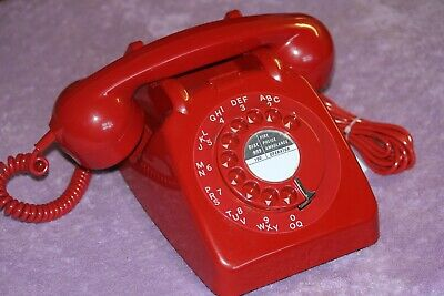Vintage GPO 706 RED dial telephone converted BT plug in