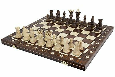 Vintage Wooden Chess Game Hand Carved Board Pieces Large 21 Inch Full Set Craft