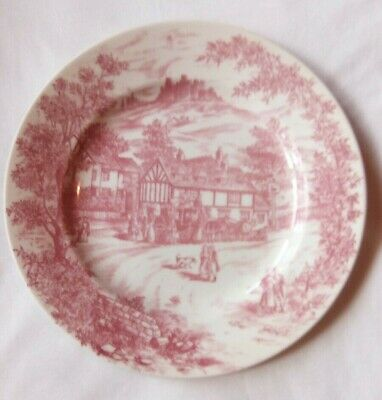 Vintage Churchill Pink and White ''Swan Inn'' Dinner Plate 24cm Exc Cond.