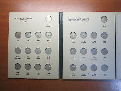 New Zealand Sixpence Set Silver 1933 to 1965 in John Bertrand Album 35 Coins
