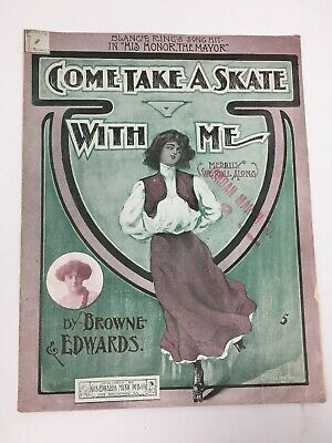 Come Take A Skate With Me 1906 Sheet Music Large Format Antique