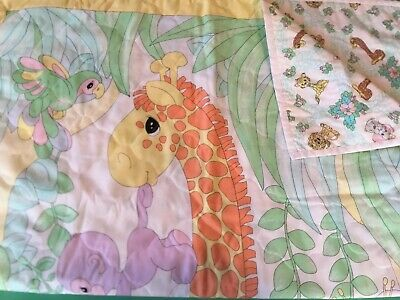Vintage Precious Moment Jungle Animal Theme BABY CRIB QUILT BLANKET  Sam B Mint
