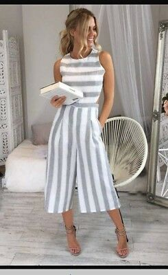 BNWT Backless Striped jumpsuit - Size 6/8 - Blue and White