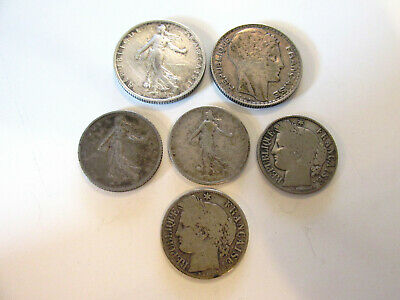 lot pieces argent 10 francs turin 2 fr semeuse & 4 pieces 1 franc voir detail