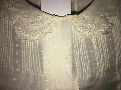 ANTIQUE Smocked Embroidered Child Baby Dress Christening Bisque Doll Bye-lo