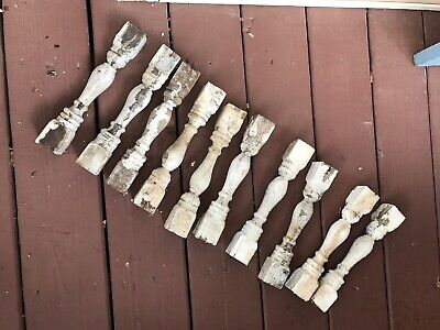 Lot Of 10 Old White Balusters Porch Wood Rustic Farmhouse 10 Inches Spindles