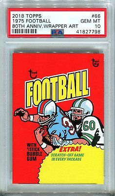 2018 Topps 80th Anniversary Wrapper Art #66 ~ 1975 Football /261 PSA 10