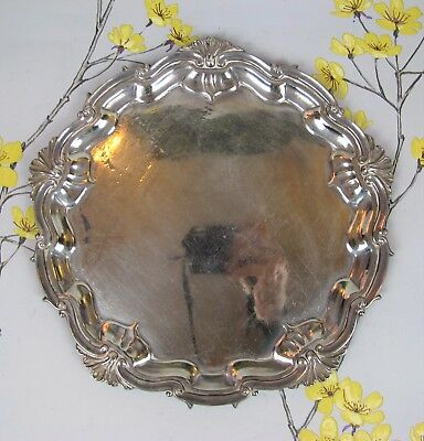"""Vintage silver plated round DRINKS OR SERVING TRAY / STAND / PLATE. 9.5"""". Heavy."""