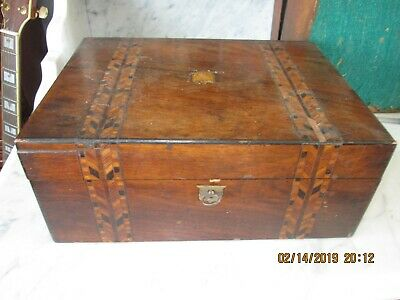 Victorian inlaid crossbanded old box with working lock & key.