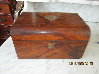 Georgian walnut box with central brass inlaid badge, working lock and key