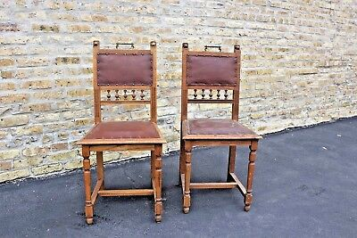 ANTIQUE PAIR OF CARVED OAK FRENCH CHAIRS ca. 1895