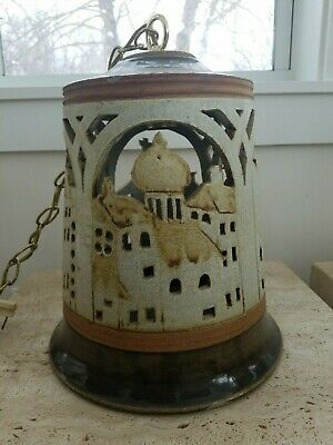 Large Mid-Century Hanging Pottery Lamp Dated 1976 Handcrafted Signed