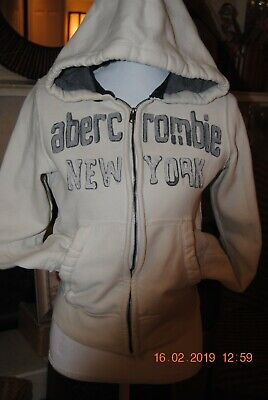 Boys Abercrombie Zip up Hoodie- Large- Off white & Gray