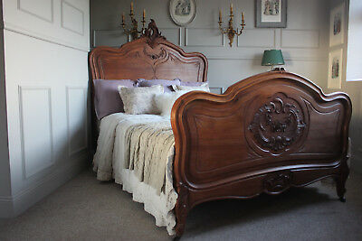 French antique solid walnut Louis XV double bed
