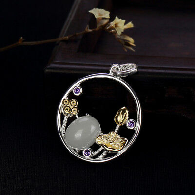 Necklaces & Pendants Fashion Jewelry A01 Pendant Circle Chalcedony White With Bloom Tendrils From Sterling Silver 925