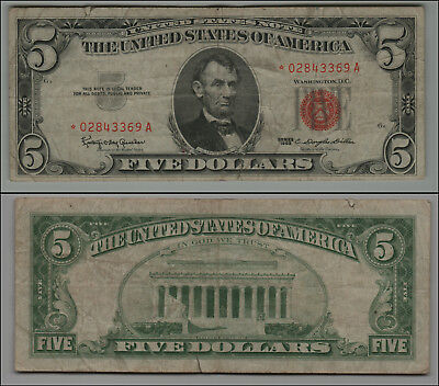 1963 - * Star Note $5 Five Dollar United States Note Bill - Red Sea K409