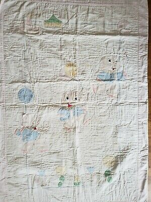 Vintage Handmade EMBROIDERED BABY Quilt Elephants Balloons