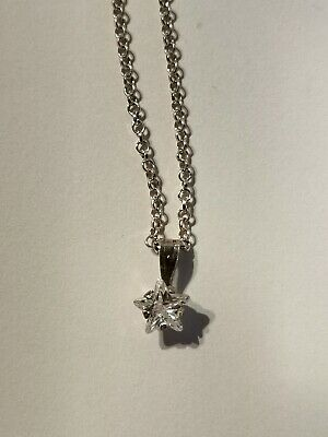 9 Carat White Gold Star Pendant On White Gold Tone Chain - Metal Detecting Find