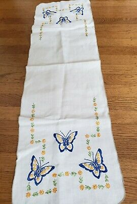 "Vintage Hand Embroidered Table Runner Dresser Scarf ~ Floral 38"" Butterflies,"