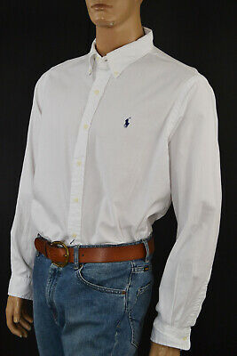 Ralph Lauren Classic Fit Big & Tall White Long Sleeve Shirt/Navy Blue Pony - NWT