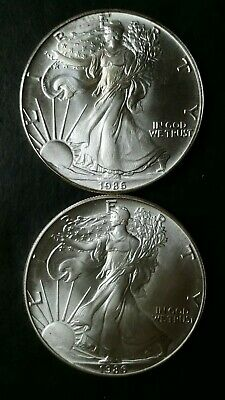 Two 1986 $1 American Silver Eagle Dollars