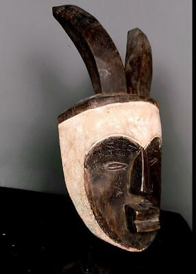 Outstanding  Tribal unusual Fang Mask with Horns          --  Gabon