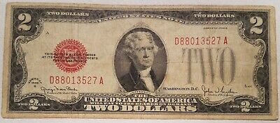 1928-G $2.00 United States Note Red Seal U.S. Two Dollar Bill - tape