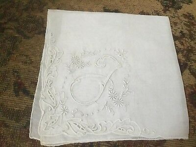 Lovely Monogram F Embroidered Lace Madeira LINEN Bridal WEDDING Hankie