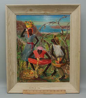 Mid-20thC Jamacian or Haitian Folk Art Farmers Oil Painting, NR