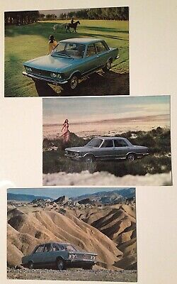FIAT 130 berlina 3 cartoline originali postcards cartes postales, vintage 1970.