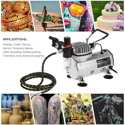 3 Airbrush Kit With Air Compressor Dual-Action Hobby Spray Air Brush Set US S0W4