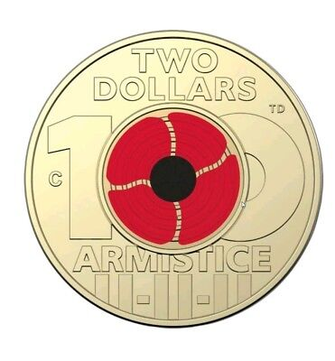 """2018 $2 Remembrance Day Armistice Centenary Coloured Red Poppy. """"C"""" Mint Mark"""