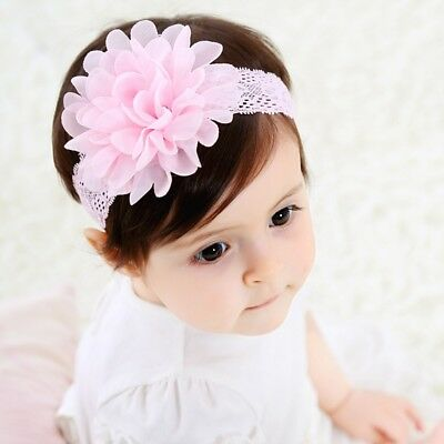 fashion baby infant girl lace chiffon flower elastic soft headband hair bands 15