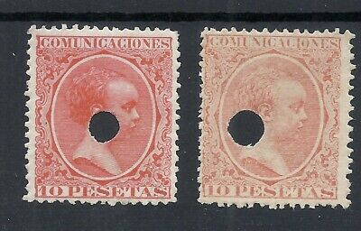 Spain ALFONS 2 X 10 Peseta - perforated -  colour SHADES