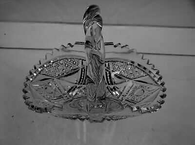 American Brilliant Cut Glass Antique Crystal Very Fine Rope Handle Small Basket